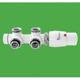 Zestaw termostatyczny ALATUS TWINS biały kątowy prawy