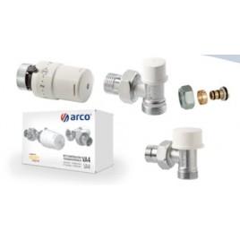 Zestaw termostatyczny kątowy do rur PEX (zawór termostatyczny+zawór odcinający+głowica+złączki 16x1/2)