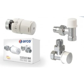 Zestaw termostatyczny kątowy (zawór termostatyczny katowy + zawór odcinający katowy + głowica M30)