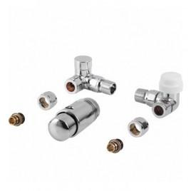 Komplet termostatyczny PRAWY CHROM z nastawą wstępną do podłączenia grzejnika łazienkowego PHA-038