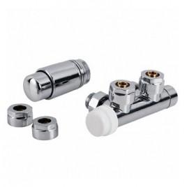 Zintegrowany zestaw termostyczny do podłączenia grzejnika łazienkowego z podłaczeniem dolnym chrom PHA-036