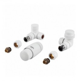 Komplet termostatyczny LEWY BIAŁY z nastawą wstępną do podłączenia grzejnika łazienkowego PHA-037W