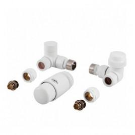 Komplet termostatyczny PRAWY BIAŁY z nastawą wstępną do podłączenia grzejnika łazienkowego PHA-038W