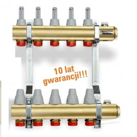 Rozdzielacz 3-obwodowy z tworzywa z zaworami termostatycznymi i przepływomierzami